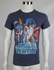 Star Wars Mens Blue Luke Skywalker Princess Leia Short Sleeve Shirt Size Small