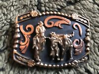 STEER WRESTLING RODEO Native AMERICAN Handmade Tropy Money Clip PRCA Cactus