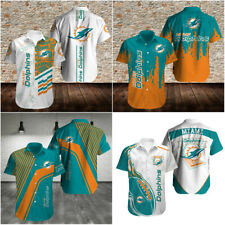 Miami Dolphins Football Hawaiian Shirts Summer Short Sleeve Button-Down Shirts