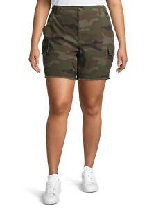 Terra & Sky Women's Utility Shorts with Frayed Hem Plus Size 18W Camo