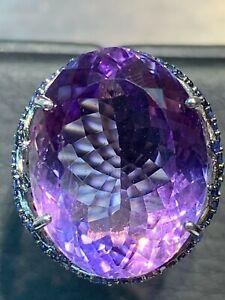 NATURAL AMETHYST 19.5X13 SAPPHIRE DIAMOND CUT STERLING SILVER925 RING