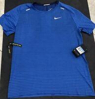 NIKE MEN'S TECHKNIT ULTRA SHORT SLEEVE Running Shirt NWT Blue Size Medium Sale