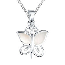 Sterling Silver mother of pearl inlay butterfly pendant necklace, includes Chain
