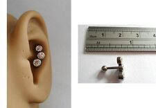 Surgical Steel Clear Triple Crystal Conch Stud Post Ring 16 gauge 16g