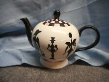 Nordstrom Designer R. Toledo Black White Pink Checkered Ceramic Teapot Tea Pot