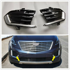 1 Pair Front Fog Light Lamp Bezel Cover Side Grille For Cadillac XT5 2017-2019