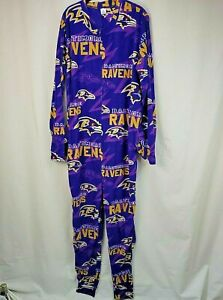 Baltimore Ravens Pajama Sleepwear Full Body Size XL Pockets Zippered No Feet