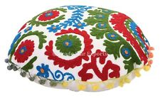 """Indian Suzani Embroidery Cushion Cover 16"""" Ethnic Cotton Round Sofa Pillow Cases"""