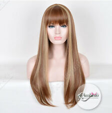 27 Inch Long Highlight Blonde Full Wig Synthetic Hair Wigs Cosplay Costume Party