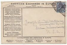 * 1888 ADVERTISING COVER AMERICAN EXCHANGE EUROPE CHARING CROSS SQUARED CIRCLE