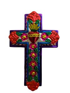 Embossed Tin Cross - Mexican Folk Art Wall Decor - Sacred Heart Ornament - Cruz