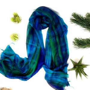 100% Pure Silk Scarf Hand Painted Blue Green Silk Scarf