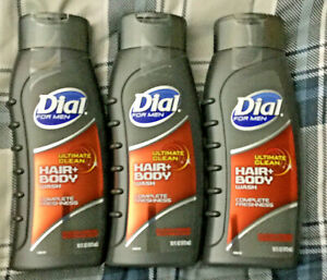 3 NEW 16 OZ DIAL FOR MEN ULTIMATE CLEAN HAIR & BODY WASH CLEAN RINSE TECHNOLOGY