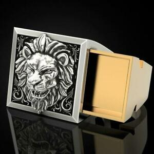 Fashion Lion Two Tone Silver Rings For Men Party Ring New 7-12 Size Gift U6L1