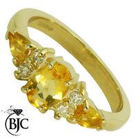 BJC 9ct oro amarillo citrina y Diamante Talla O Compromiso Anillo De Vestir