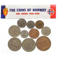 LOT OF 10 MIXED NORWAY COINS NORWEGIAN ORE KRONER SCANDINAVIAN 1958-2018