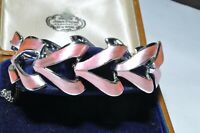BEAUTIFUL VINTAGE JEWELCRAFT PEARLISED PINK ENAMEL BRACELET WITH SAFETY CHAIN
