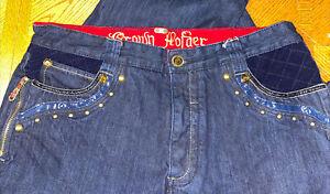 CROWN HOLDER Mens Denim Jeans Sz 38 x 34  Embroidered Baggy Hip Hop