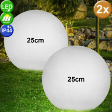 Set of 2 LED Stone Optics Solar Plug Lights Garden Lighting Patio Ball Lamps