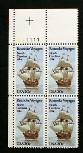 US Plate Blocks Stamps #2093 ~ 1984 ROANOKE VOYAGES 20c Plate Block of 4 MNH