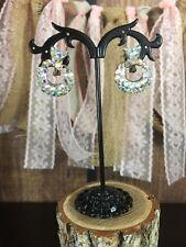 y Vintage AB Rhinestone Door Knocker Silver Tone Dangle Earrings