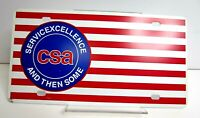 Vtg Dealer Booster Licence Plate Tag CSA Excellence American Flag Plastic