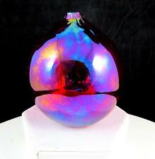"ART GLASS HAND BLOWN RED IRIDESCENT BALL SHAPED 3 1/2"" OIL LAMP / VASE"