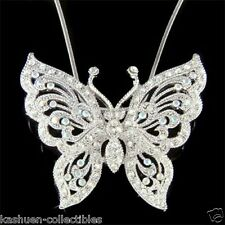 Mothers Day Gift Big Bridal w Swarovski Crystal ~BUTTERFLY~ Charm Chain Necklace