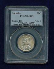 U.S. 1893 ISABELLA QUARTER-DOLLAR SILVER UNCIRCULATED COIN, CERTIFIED PCGS-MS63!