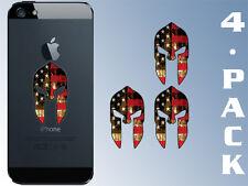 4-Pack 1x2 inch CELL PHONE Spartan Helmet Shaped USA Flag Stickers -us molon gun