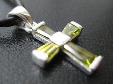 Kreuz mit Zirkonia gelb 925'er Silber Ketten Anhänger  / KA 786