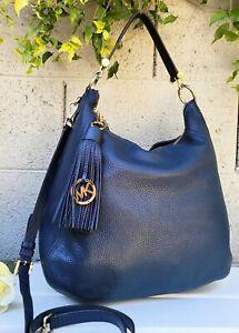 Michael kors large navy FRANCES pebbled leather shoulder bag hobo purse handbag