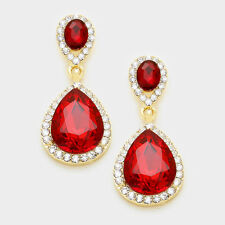 Drop Wedding Evening Fashion Earrings Red Glass Crystal Double Teardrop Dangle