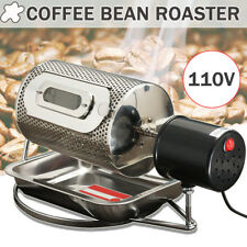 110V Electric Stainless Steel Coffee Bean Roaster Machine Roasting With Tray US