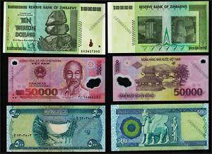 10 Trillion Dollars Zimbabwe + 50,000 Vietnam Dong + 500 Iraq Dinar Uncirculated