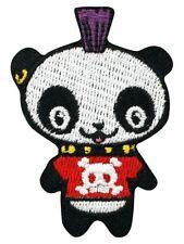 Punk Panda Iron on Patch mohican mohawk skull crossbones happy animal Goth Emo