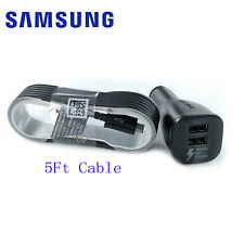 OEM Original Samsung Galaxy S6 S7 Note 4 5 Fast Dual USB Car Charger + 5Ft Cable