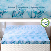 2.5,3,4 Inch Gel Memory Foam Mattress Topper Lavender Blue Swirl Queen King Twin