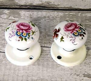 Vintage Pair of Porcelain Ceramic Door Handles Knobs Floral Flowers Pretty
