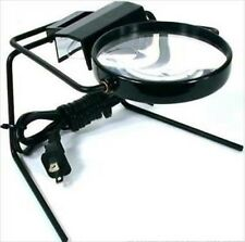 Electric Table Top Lighted Illuminated Magnifier Glass Lamp Tabletop Stamp Hobby