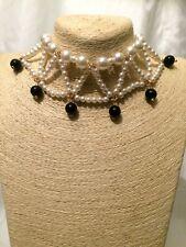 STATEMENT Big Large Cream Beaded Faux Pearl Bib Collar Choker Chain Necklace uk