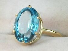 14k Yellow Gold Blue Topaz-5.80 tcw Solitaire Band Cocktail Engagement Ring Band