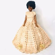 Vintage African American Doll Short Hair Handmade Dress Show Doll Modified