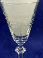 Vintage Set  4 Etched Cut Clear Crystal Wine Cordial Sherry Glasses Elegant 2 oz