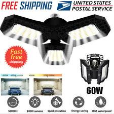 60W 6000LM Deformable LED Garage Light Super Bright Shop Ceiling Lights Bulb US