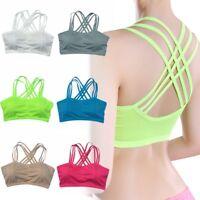 Yoga Sports Bra Fitness Stretch Workout Tank Tops Padded Strappy Women Vest Tops