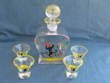 alte emailbemalte Karaffe mit 4 Gläsern Ida Paulin Umfeld ? Art Deco Affen q