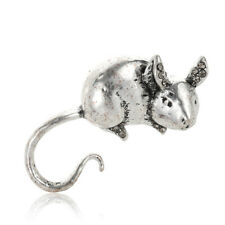 Retro Antique Silver Plated Small Mouse Brooches Animal Brooch Pin For Women