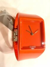NWT Philippe Starck Watch PH5033 Orange Polished Rubber Band/Case, New Battery