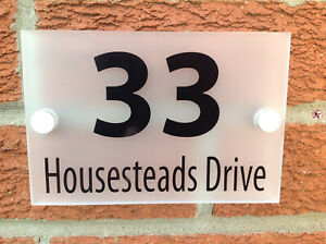 HOUSE SIGN NUMBER 3mm FROSTED ACRYLIC + TRADE QUALITY ALUMINIUM FITTINGS